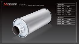 XFORCE Muffler Mild Steel - Round 2.5 Inch Inlet 14 Inch Long